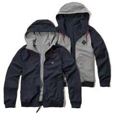 Hollister Reversible Nylon Windbreaker ($50) ❤ liked on Polyvore featuring men's fashion, men's clothing and navy