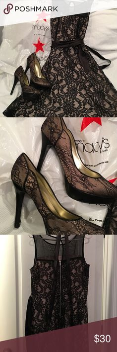 Dress and shoes or separate Black and nude lace dress from Macy's with matching guess shoes sophia christina  Dresses Midi
