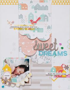 Pinkfresh Studio GD - Layout Sweet Dreams @akossakovskaya #scrapbook #scrapbooking #pinkfreshstudio