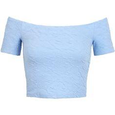 Miss Selfridge Jacquard Bardot Top (170 MXN) ❤ liked on Polyvore featuring tops, shirts, crop tops, blue, mid blue, shirt top, miss selfridge, sexy crop top, blue shirt and shirt crop top