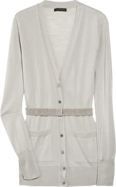 Burberry Prorsum Belted Wool Cardigan in Gray