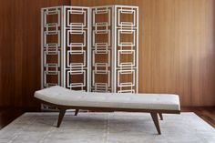 """Rug, model """"Thebes"""", handmade daybed and room divider, designed by Two Is Company."""