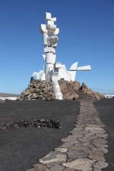A sculpture / monument by Cesar Manrique, Casa-Museo del Campesino, San Bartolomé, Lanzarote. A tribute by CM to the farmers and stockbreeders of Lanzarote. Sight & Sound, Canario, Canary Islands, Sculpture Art, Statue Of Liberty, Places Ive Been, Spain, Tours, Landscape