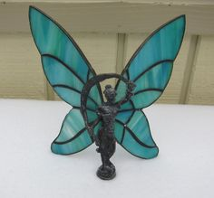 Art Deco Style Warrior Blue Winged Woman Stained Glass Figure by Framarines on Etsy