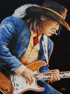 """Richard Klingbell, Stevie Ray Vaughn - (A quote from the Artist) """"As an artist my goal is to create a realistec ard thoughtful aproach to art that can be enjoyed and appreciated by all. Much of my work has a spiritual influance and I try to produce work that is insperational, rather than provolcative in nature.  My portraits are more than reproductions of a photograph, but rather a realistic rendition capturing the soul and spirit of the subject."""""""