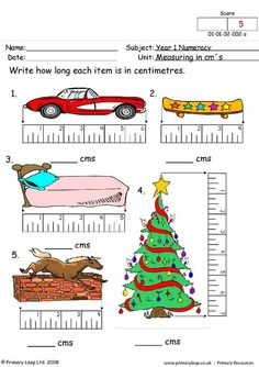 PrimaryLeap.co.uk - Measuring in cms 2 Worksheet