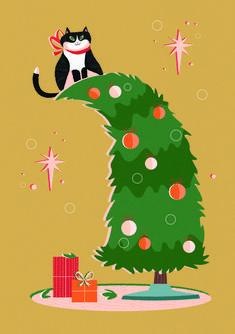 Cat in Christmastree illustration by Jasmijn Solange Evans Christmas Cards, Christmas Tree, Christmas Ornaments, Holiday Decor, Cats, Illustration, Christmas E Cards, Teal Christmas Tree, Gatos