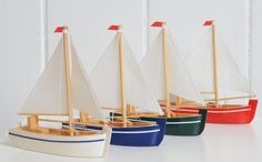 Mini Yachts with Striped Hull