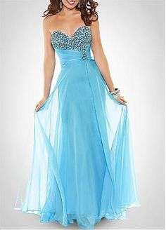 [134.99] Perfect Silk-like Chiffon Sheath Beaded Sweetheart Neckline Full Length Prom Gown / Homecoming Dress - Dressilyme.com