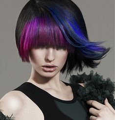 black hair with purple and blue highlights via Hair Color Ideas