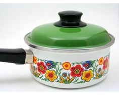 Vintage 1970s groovy Saucepan enamelware kitchen cookware from SmilingCatVintage, $25.00