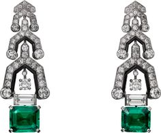 Platinum, Emeralds, Onyx & Diamond Earrings, Cartier