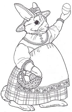 Jan Brett: inkspired musings: Do the Bunny Hop Make your world more colorful with free printable coloring pages from italks. Our free coloring pages for adults and kids. Easter Bunny Colouring, Bunny Coloring Pages, Colouring Pages, Coloring Pages For Kids, Coloring Books, Easter Art, Easter Crafts, Vintage Embroidery, Embroidery Patterns