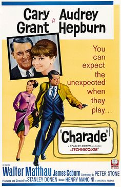 Charade is a 1963 American romantic comedy/mystery film directed by Stanley Donen, written by Peter Stone and Marc Behm, and starring Cary Grant and Audrey Hepburn. The movie also features Walter Matthau, James Coburn, George Kennedy, Dominique Minot, Ned Glass, and Jacques Marin. It spans three genres: suspense thriller, romance and comedy.