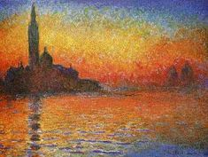 Sunset in Venice, by Claude Monet. The colors here taken my breath. I have a poster of this for my office. I love Monet generally.