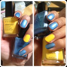 Blue & yellow.  By Avon.   www.youravon.com/jaclynsales