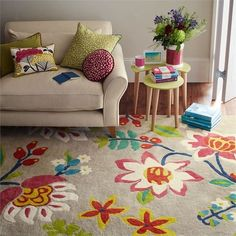 Myrtle Bright Multi Rug by Sanderson : Wallpaper Direct Myrtle, Tapis Design, Rug Texture, Floral Rug, Trends, Home Rugs, Shop Interior Design, Modern Rugs, Beautiful Patterns