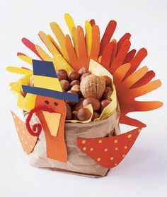 Thanksgiving Craft Ideas. Paper bag, construction paper, collect nuts, pinecones or add butterscotch candy. ;)