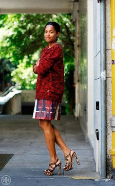 Tamu McPherson looking McFierce in Leopard shoes and a printed ensemble. #streetstyle