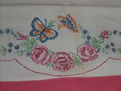 Vintage pink Roses butterfly floral embroidered pillowcases by raggedy10, $16.50