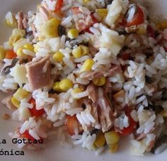 Ensalada de arroz, atún y vegetales. Receta saludable Mexican Food Recipes, Vegetarian Recipes, Cooking Recipes, Healthy Recipes, Fat Free Recipes, Healthy Snacks, Healthy Eating, Soup And Sandwich, Food Humor