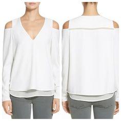 Cooper & Ella Kayla Open Shoulder blouse Sexy elegant cream white top with open shoulder detailing.  Good condition worn 2x. cooper & ella Tops Blouses