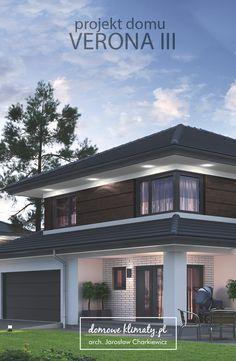 """Projekt domu jednorodzinnego """"Verona III"""" jest kolejną odsłoną linii domów Verona. W porównaniu z pierwowzorem, mamy do czynienia z budynkiem oszczędniejszym, o mniejszej powierzchni użytkowej. Zachowuje on jednak aspekty funkcjonalne i komunikacyjne (przechodnia kuchnia) Verony nr. 1. Warta uwagi jest trójbryłowa architektura, która z wielospadowym dachem wyzwala ciepły, śródziemnomorski klimat. We wnętrzu wydzielona bryła mieści przestronną, otwartą na trzy strony świata strefę dzienną. Villa Design, Modern House Design, Arch House, Contemporary Building, Grey Houses, Pergola Designs, Bungalows, Traditional House, Verona"""