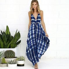 """⭐NEW! Sexy Backless Side Slit Maxi Dress Beach ready!   Blue and White Print  Seashells on ties in front & back Backless, Both Side Slit Deep V-Neck High Waist Elastic Waist Full Length  Back Zipper Closure Soft Cotton Blend   Medium  Bust: 35.9"""" Elastic Waistband: 25""""-29.6"""" Length: 55""""  Large Bust: 37.4"""" Elastic Waistband: 25.7""""-30.4"""" Length: 55.4""""   NWOT Directly From Vendor   ▪ Price is Firm  ▪ No Trades ▪ Fast Shipping Moda Ragazza  Dresses Maxi"""