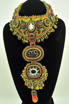 Dance of Time Bead Embroidered Collar by KellyJAngeley