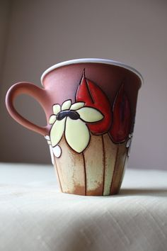 Tall teacup with meadow flowers  clay pottery by TerrysPotteryShop, $26.00