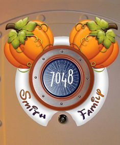 Cute fall pumpkin Mickey ears for your Disney cruise door magnet. Custom design includes your family name and room for the peephole!