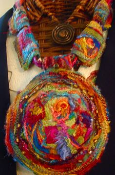 machine felted medallion and beads, art to wear or hang on wall or mannekin_Amy Mimu Rubin