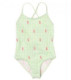 Ralph Lauren Junior Key Lime 'Little Schiffli' Swim Suit from www.profilefashion.com