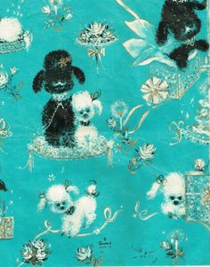 Aqua. Teal. Turquoise. ~ vintage gift wrap with poodles