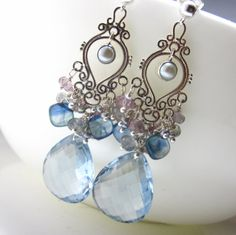 Cool Water Earrings  Topaz and Sterling Silver by glowfly on Etsy, $167.00