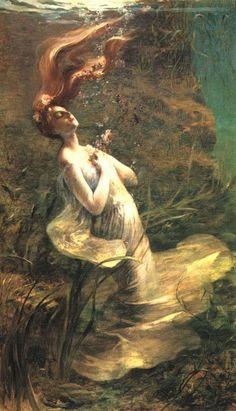 Paul Albert Steck (1866-1924) : Ophelie. (1894)  / Petit Palais, Musée des Beaux-Arts de la Ville de Paris, France.162.0 cm×98.5 cm