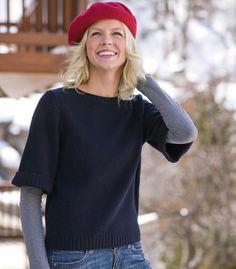 pull à manches courtes femme en laine dagneau