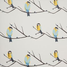 Juneberry and bird wallpaper and fabric