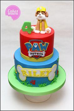 Paw patrol 2 tier 4th birthday cake with handmade edible Rubble.