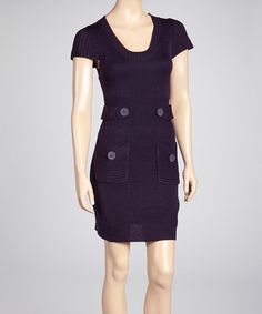 Take a look at this Purple Tab Waist Knit Sweater Dress by She's Cool on #zulily today!