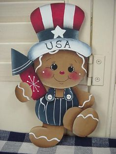 HP~~Gingerbread Boy Patriotic USA with Fire Cracker ~~ Fridge Magnet