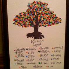 """Class Auction project...23 early childhood students, 23 """"signatures"""" and colors to complete the fingerprint canopy of the tree and legend below. Such a FUN project!"""