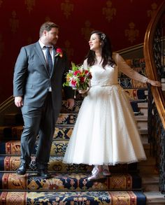 """""""I knew that I didn't want a dress that required any kind of uncomfortable underwear underneath it. I was determined to be comfortable on my wedding day."""" #weddinginspo #realweddings #realbride Tea Wedding Dresses, Wedding Dress Shapes, Vintage Style Wedding Dresses, Tea Length Wedding Dress, Designer Wedding Dresses, Fifties Fashion, Vintage Fashion, London Wedding, Wedding Inspiration"""