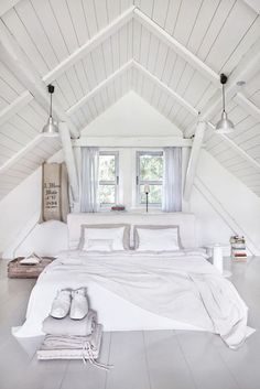 #White #attic Trending Interior Modern Style Ideas