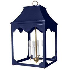 Lacquer Indoor/Outdoor Lantern & Light Fixture - Navy Blue