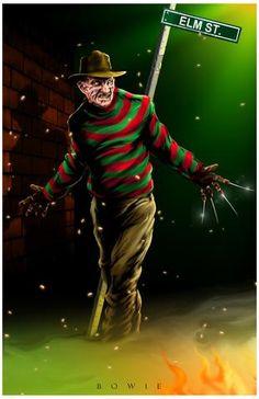 Freddy Krueger by Damon Bowie Robert Englund, Horror Icons, Horror Films, Horror Villains, Horror Posters, Freddy Krueger, Creepy Horror, Funny Horror, Horror Artwork