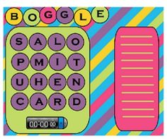 This is a Boggle  game for the smartboard. It has extra letter pieces and a colorful template. To create a new game board just rearrange the letter...