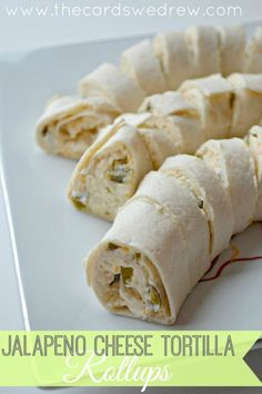 Easy appetizer using Kraft cheese, cream cheese, and jalapenos...Jalapeno Cheese Tortilla Rollups! YUM!