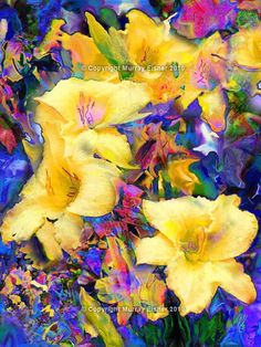 CANARY LILY FLOWERS    Large Fine Art Abstract Floral by EisnerArt, $28.00