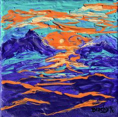 """""""Dreaming Of The High Desert"""" abstract art painting 5x5in $30 by Donna """"Blacky"""" Blackhall"""